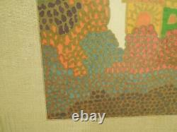 Vintage Yeshayahu Scheinfeld Abstract Modern Art Marker Naive Framed Picture