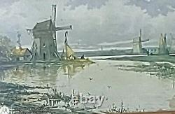 Windmill Print Old Antique In Frame Of Windmill Picture Drawing Art