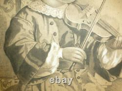 XL Picture Charcoal Drawing Sign Dat. 1898 Girl With Violin